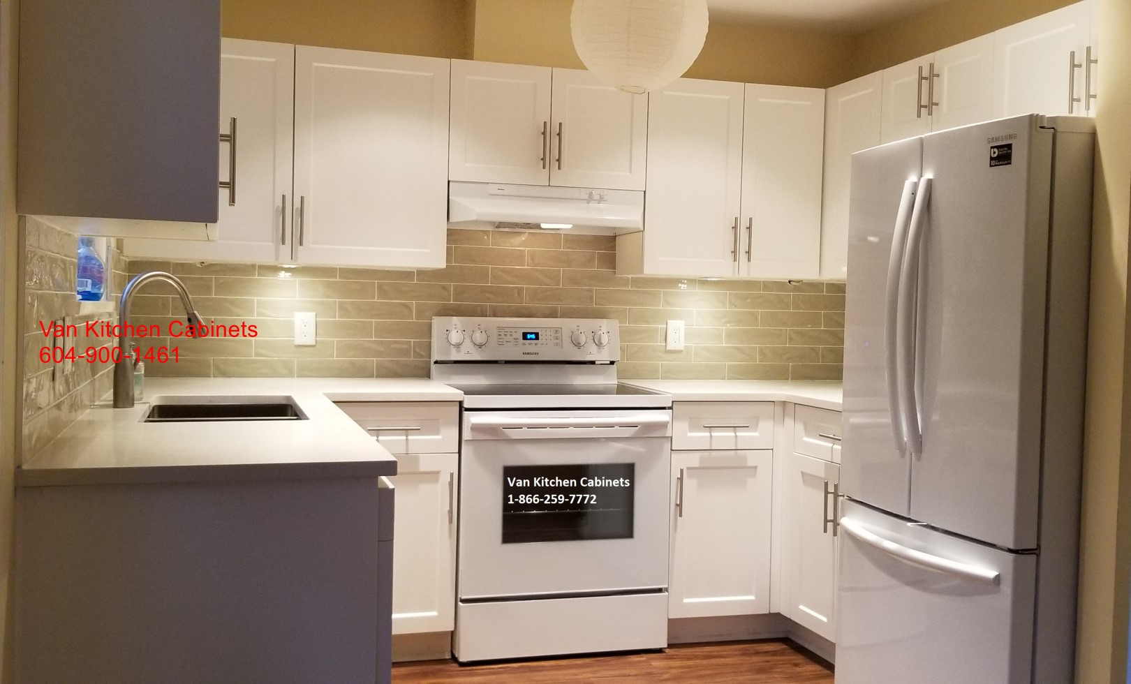 White shaker light backsplash